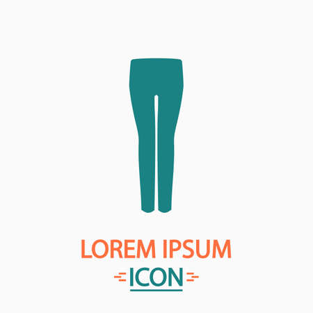 white pants: pants Flat icon on white background. Simple vector illustration