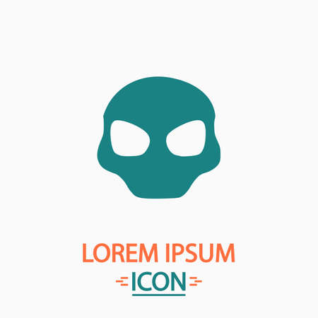 alien cool: Alien Head Flat icon on white background. Simple vector illustration