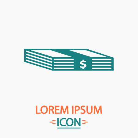batch of dollars: Bundle of Dollars Flat icon on white background. Simple vector illustration