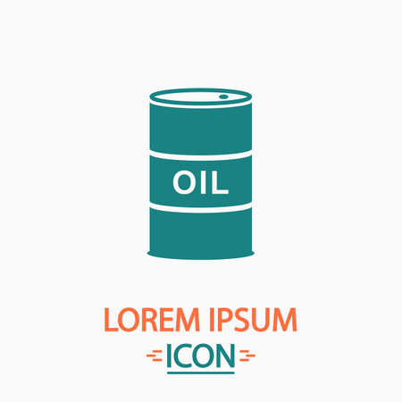 Oil barrels Flat icon on white background. Simple vector illustration