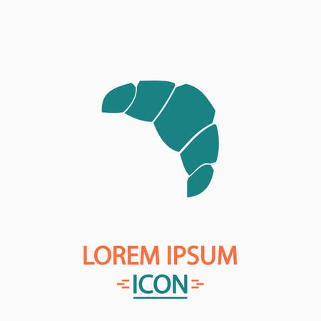 concave: Croissant Flat icon on white background. Simple vector illustration