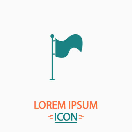 flagpole: Waving Flag Flat icon on white background. Simple vector illustration