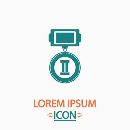 silver medal: silver medal Flat icon on white background. Simple vector illustration