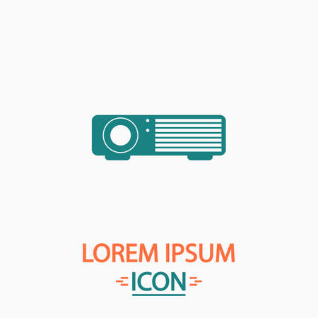 taught: Projector Flat icon on white background. Simple vector illustration
