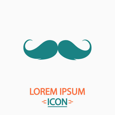 chaplin: Mustache Flat icon on white background. Simple vector illustration Illustration