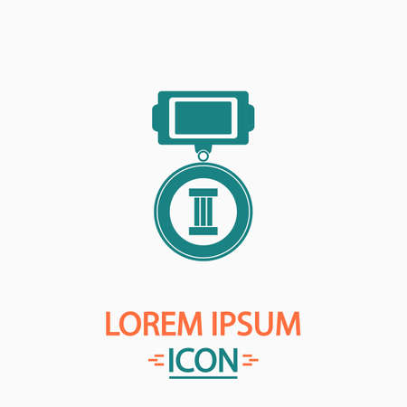 webshop: Medal Flat icon on white background. Simple vector illustration
