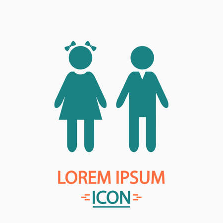 simple girl: girl and boy Flat icon on white background. Simple vector illustration Illustration
