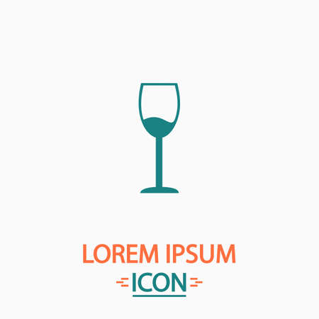 vineyard plain: wineglass Flat icon on white background. Simple vector illustration