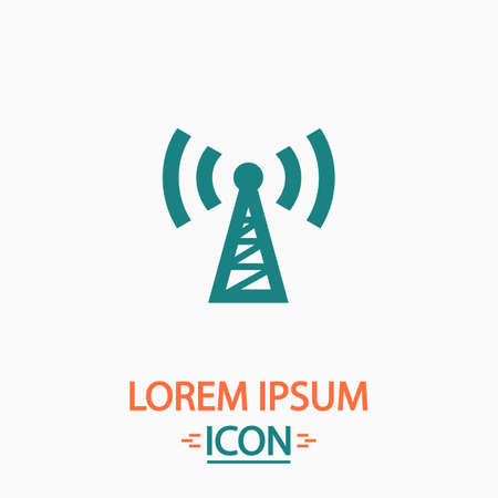 wireles: Transmitter Flat icon on white background. Simple vector illustration
