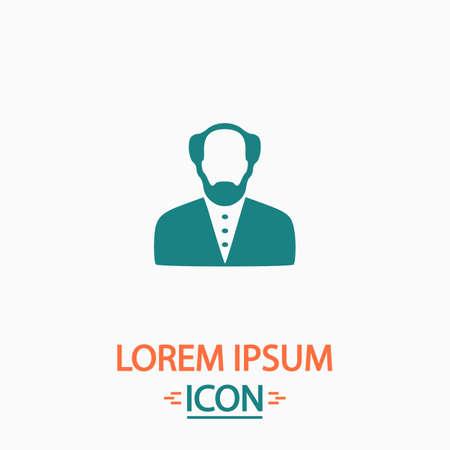 bald man: Bald Man Flat icon on white background. Simple vector illustration