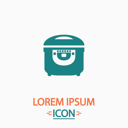 crock: electric pan Flat icon on white background. Simple vector illustration