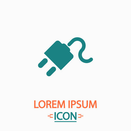 Power cord Flat icon on white background. Simple vector illustration