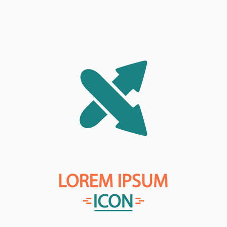 shrink: crossing arrow Flat icon on white background. Simple vector illustration