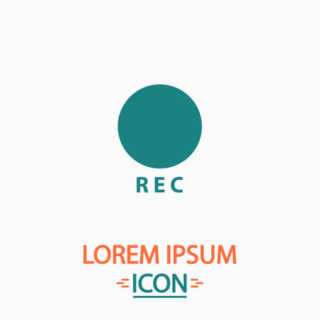 rec: Rec Flat icon on white background. Simple vector illustration