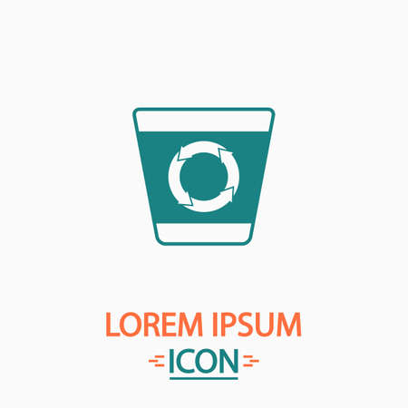 refuse bin: Recycle bin Flat icon on white background. Simple vector illustration