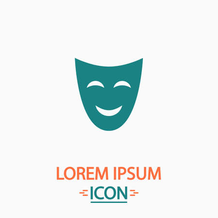 comedy mask: comedy mask Flat icon on white background. Simple vector illustration Illustration