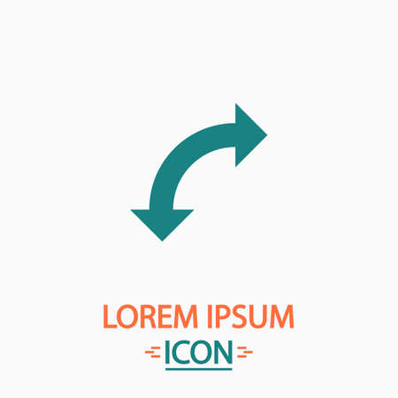 uturn: U-Turn Flat icon on white background. Simple vector illustration Illustration