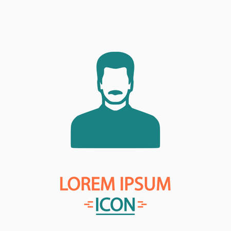 mustached: mustached man Flat icon on white background. Simple vector illustration