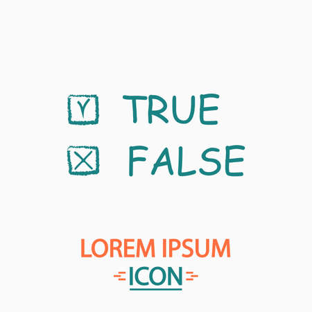 truthful: True and False Flat icon on white background. Simple vector illustration