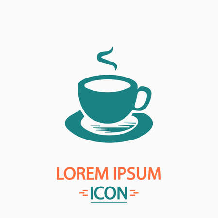 coffe: Hot coffe Flat icon on white background. Simple vector illustration Illustration