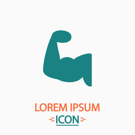 in flexed: Biceps Flat icon on white background. Simple vector illustration Illustration