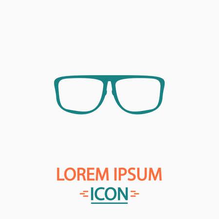 myopia: Glasses Flat icon on white background. Simple vector illustration
