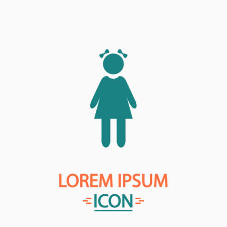 simple girl: girl Flat icon on white background. Simple vector illustration
