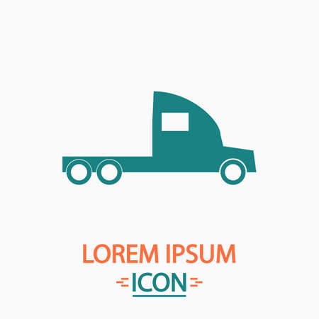 18 wheeler: cargo truck Flat icon on white background. Simple vector illustration