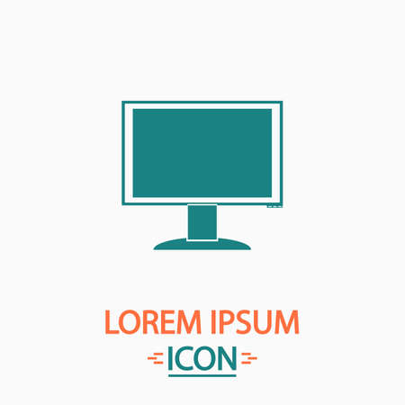 pc monitor: PC monitor Flat icon on white background. Simple vector illustration Illustration