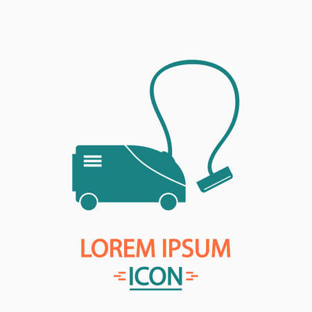 electric broom: hoover Flat icon on white background. Simple vector illustration Illustration