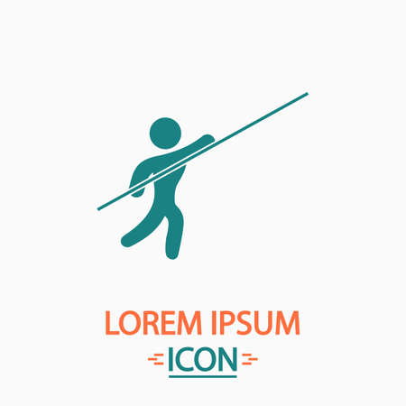 pole vault: Pole vault Flat icon on white background. Simple vector illustration