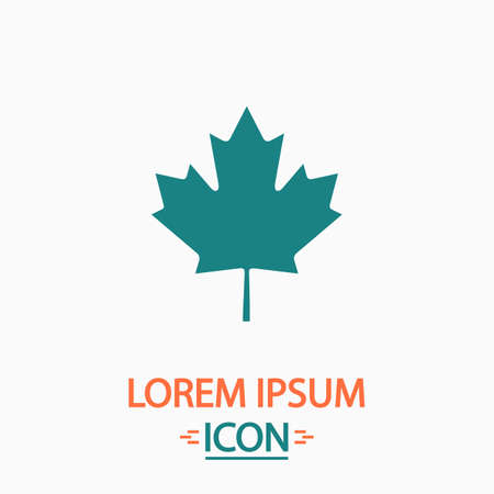 halifax: Canadian Leaf Flat icon on white background. Simple vector illustration