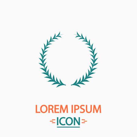 laureate: laureate wreath Flat icon on white background. Simple vector illustration