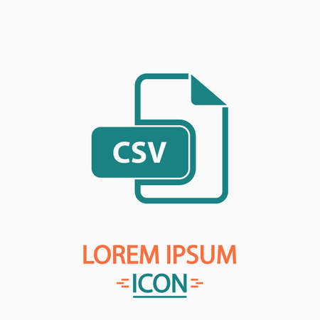csv: CSV Flat icon on white background. Simple vector illustration Illustration