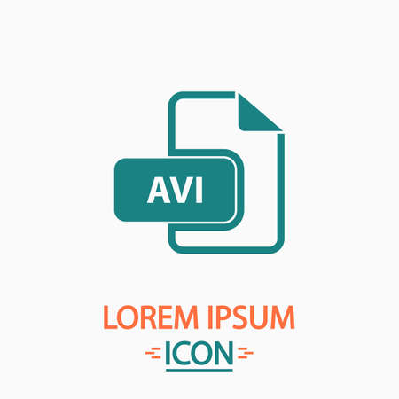 avi: AVI Flat icon on white background. Simple vector illustration Illustration