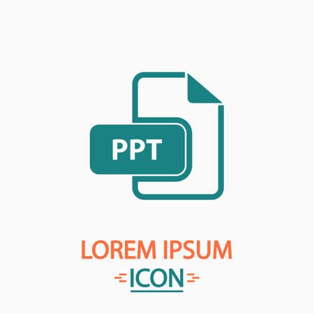ppt: PPT Flat icon on white background. Simple vector illustration Illustration