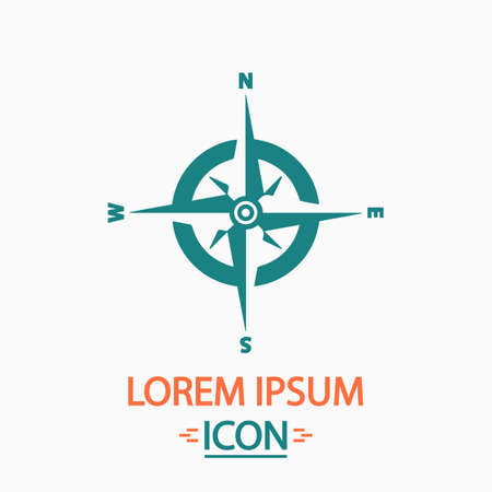 Compass Flat icon on white background. Simple vector illustration