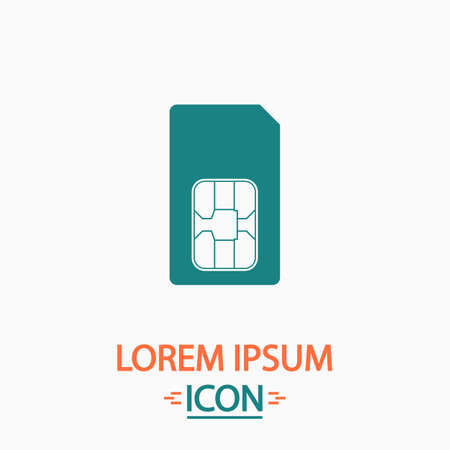 sim card: Sim card Flat icon on white background. Simple vector illustration