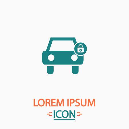 car lock: Car lock Flat icon on white background. Simple vector illustration
