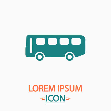 old bus: Old Bus Flat icon on white background. Simple vector illustration