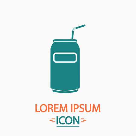 metalic design: Soda Flat icon on white background. Simple vector illustration