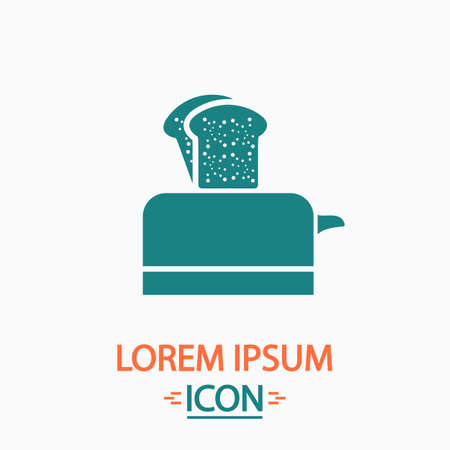 luncheon: Toaster Flat icon on white background. Simple vector illustration