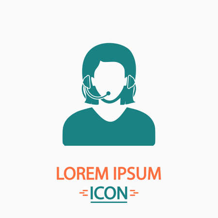 telephonist Flat icon on white background. Simple vector illustration