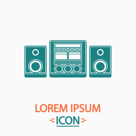 Sound System Flat icon on white background. Simple vector illustration Vettoriali