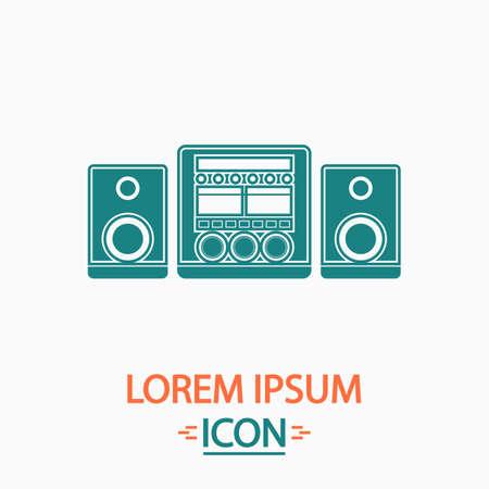 Sistema audio piatto icona su sfondo bianco. illustrazione vettoriale Semplice