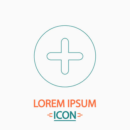 mobile apps: Plus Flat thin line icon on white background. Vector pictogram Illustration