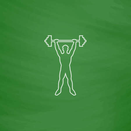 strongman: Strongman Outline vector icon. Imitation draw with white chalk on green chalkboard. Flat Pictogram and School board background. Illustration symbol Illustration