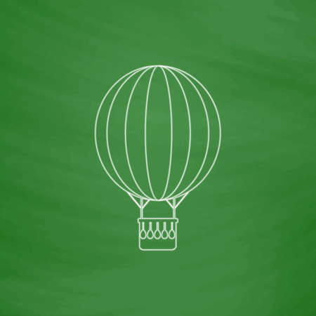 air balloon Outline vector icon. Imitation draw with white chalk on green chalkboard. Flat Pictogram and School board background. Illustration symbol