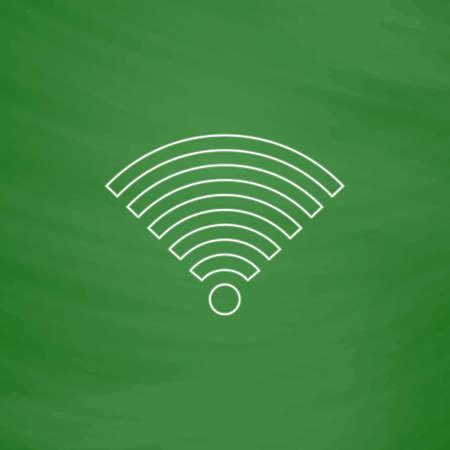 Wireless Outline vector icon. Imitation draw with white chalk on green chalkboard. Flat Pictogram and School board background. Illustration symbol Illustration