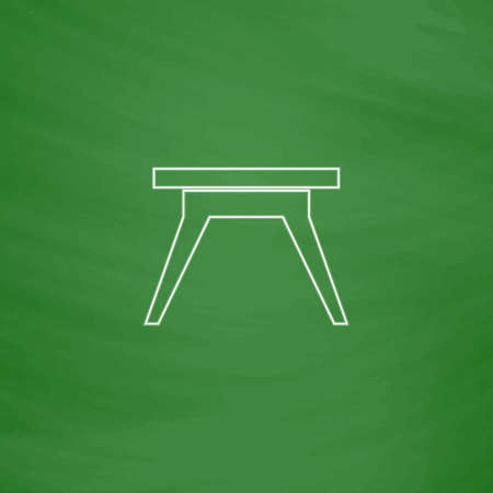 Camping table Outline vector icon. Imitation draw with white chalk on green chalkboard. Flat Pictogram and School board background. Illustration symbol